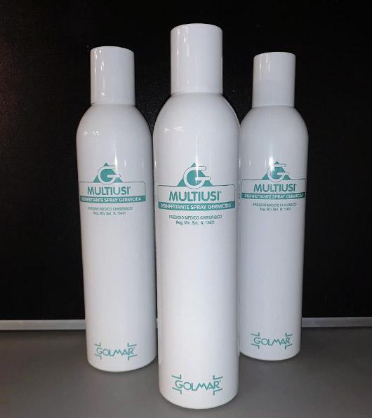 Spray antibatterico multiusi Golmar. Tris di flaconi. Utile contro coronavirus COVID19. Uno dei prodotti disponibili sull'ecommerce di Orthocare Solution